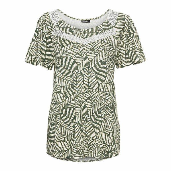 Damen-T-Shirt mit Blätter-Muster