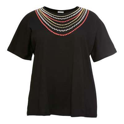 Damen-T-Shirt mit Druck am Ausschnitt, große Größen