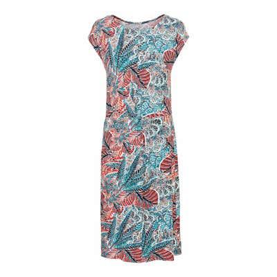 Damen-Kleid mit Blätter-Muster