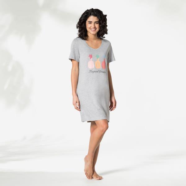 Damen-Nachthemd mit V-Ausschnitt