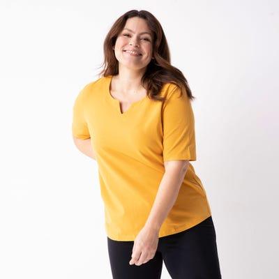 Damen-T-Shirt mit besonderem Ausschnitt, große Größen
