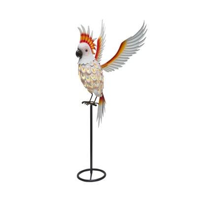 Deko-Kakadu oder Papagei mit LED-Licht, ca. 93x38x36 cm