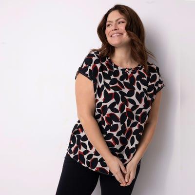 Damen-Bluse mit hübschem Druck, große Größen
