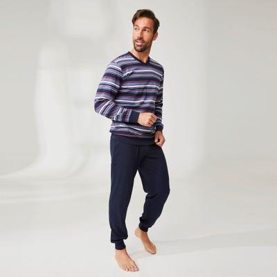 Herren-Pyjama in Ringel-Optik, 2-teilig