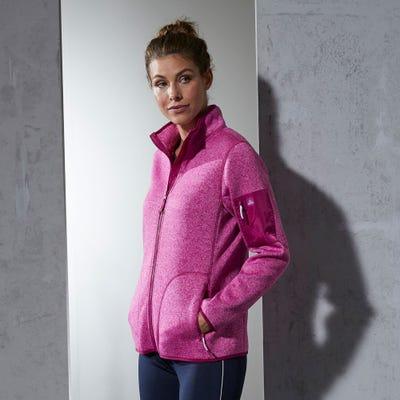 Damen-Strickfleece-Jacke mit Reißverschluss-Taschen