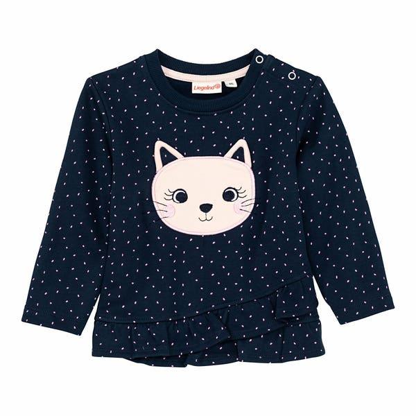 Baby-Mädchen-Sweatshirt mit Katzen-Applikation