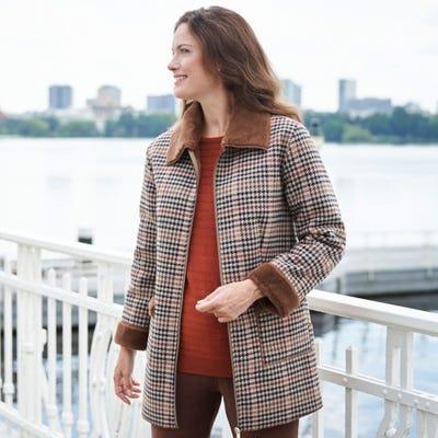 Damen-Jacke mit Webpelz-Kragen