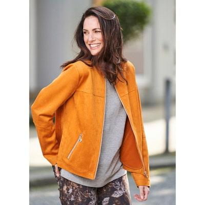 Damen-Veloursleder-Optik-Jacke mit Anhänger