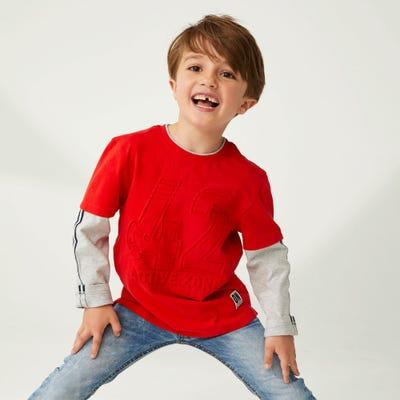 Jungen-Shirt mit Kontrast-Ärmeln