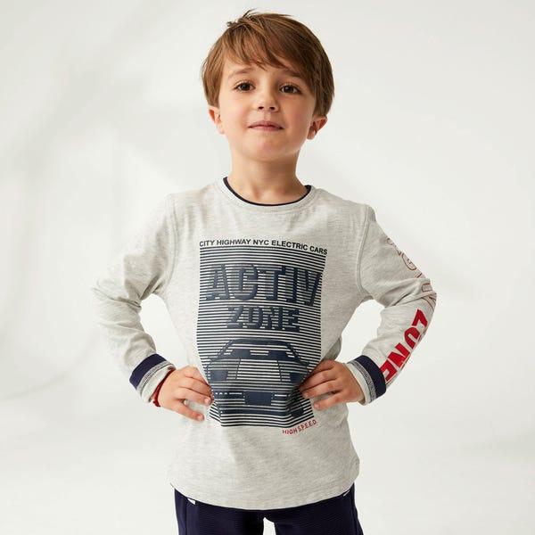 Jungen-Shirt mit Auto-Frontaufdruck