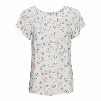 Damen-Bluse mit elastischem Ausschnitt