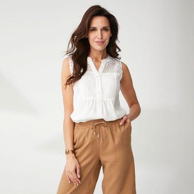Damen-Bluse mit Spitze und Pailletten