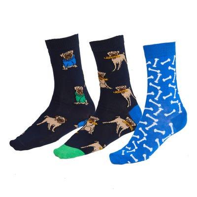 Unisex-Socken mit bunten Mustern, 3er-Pack