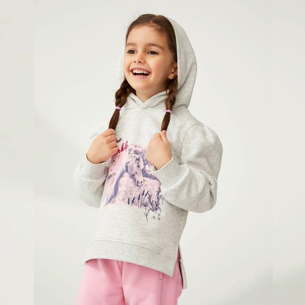 Mädchen-Sweatshirt mit Kapuze