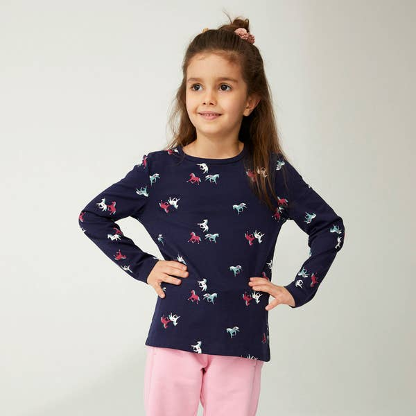 Mädchen-Shirt mit Pferde-Muster