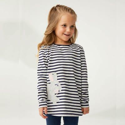 Mädchen-Shirt mit glitzerndem Streifenmuster