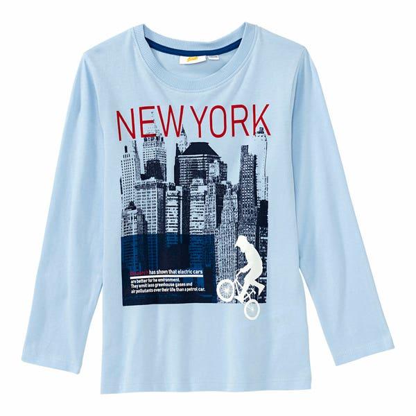 Jungen-Shirt mit New-York-Frontaufdruck
