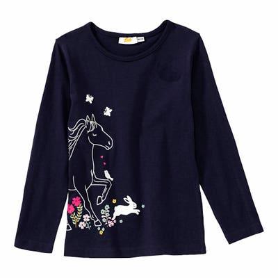Mädchen-Shirt mit glitzerndem Pferde-Aufdruck