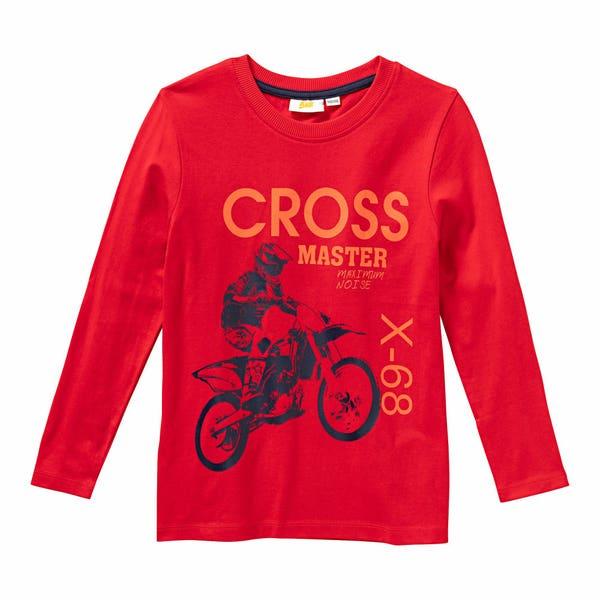 Jungen-Shirt mit Motorcross-Frontaufdruck