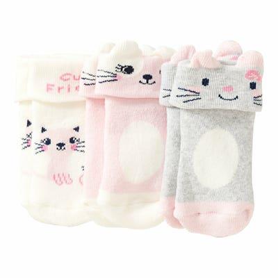 Baby-Mädchen-Frottee-Socken, 3er-Pack