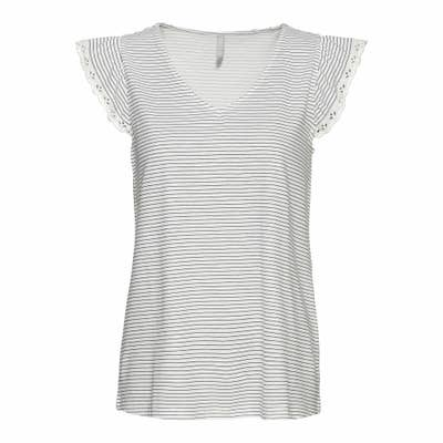 Damen-T-Shirt mit Baumwollspitze