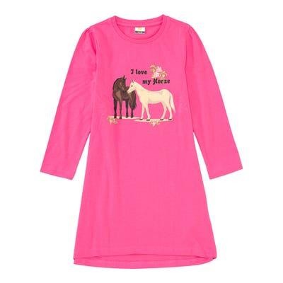 Mädchen-Nachthemd mit Pferde-Frontaufdruck