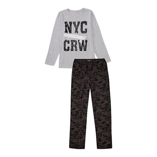 Jungen-Schlafanzug mit coolem Aufdruck, 2-teilig