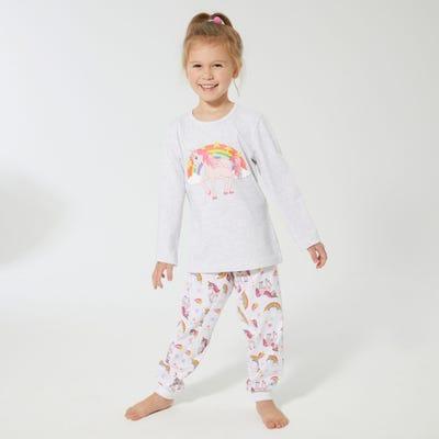 Mädchen-Schlafanzug mit Einhorn-Frontaufdruck, 2-teilig