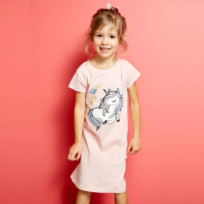 Mädchen-Nachthemd mit Einhorn-Frontaufdruck
