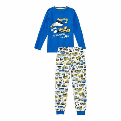 Jungen-Schlafanzug mit Baustellen-Frontaufdruck, 2-teilig
