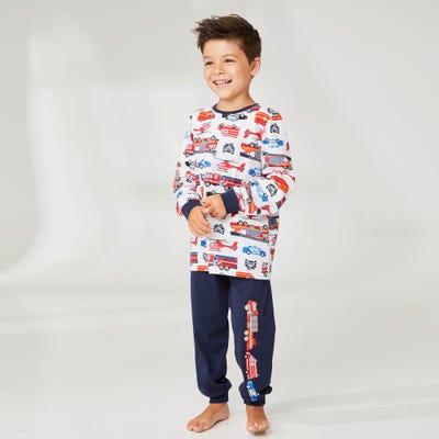 Jungen-Schlafanzug mit Feuerwehr-Motiv, 2-teilig