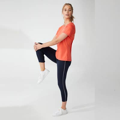 Damen-Fitness-Leggings mit Zierstreifen