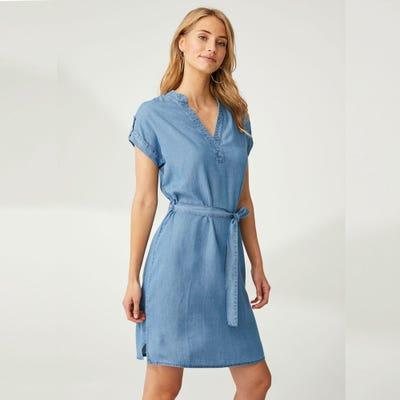 Damen-Kleid in Jeans-Optik, mit Gürtel