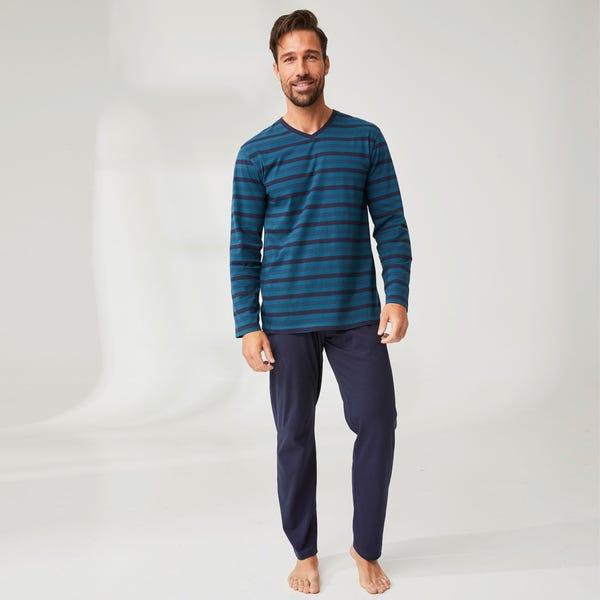 Herren-Schlafanzug mit Streifenmuster, 2-teilig