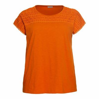 Damen-T-Shirt mit Spitzeneinsatz, große Größen
