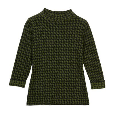 Damen Pullover Hahnentrittmuster Grün-Schwarz