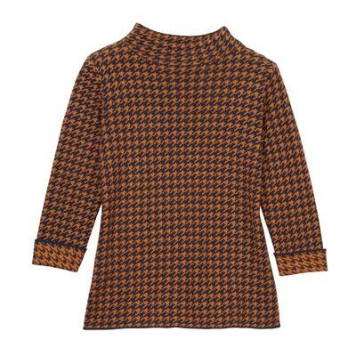 Damen Pullover Hahnentrittmuster Orange-Schwarz