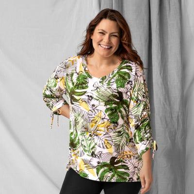 Damen-Tunika mit tropischem Motiv