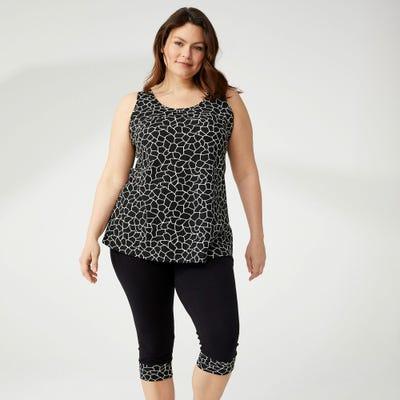 Damen-Leggings mit gemustertem Beinumschlag, große Größen