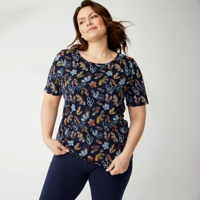 Damen-T-Shirt mit Blättermuster, große Größen