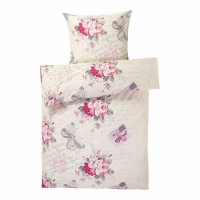 Polycotton-Bettwäsche mit Rosen und Schmetterlingen