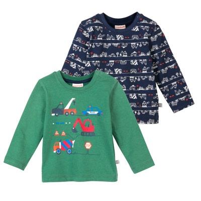 Baby-Jungen-Shirt mit Autos, 2er-Pack