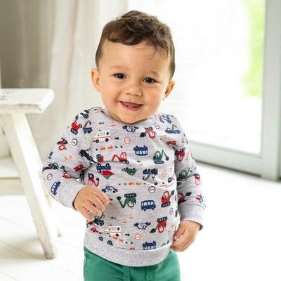 Baby-Jungen-Sweatshirt mit Fahrzeug-Design