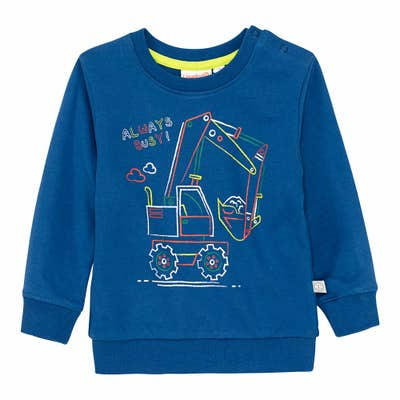 Baby-Jungen-Sweatshirt mit Bagger-Frontaufdruck