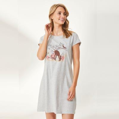 Damen-Nachthemd mit Rehkitz-Frontaufdruck