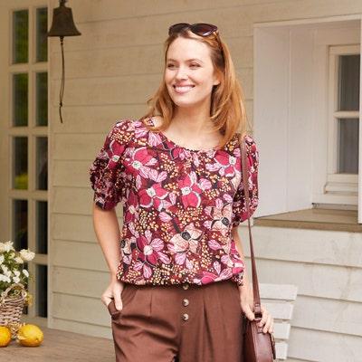 Damen-Bluse mit Gummizug am Saum