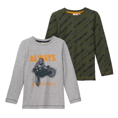 Jungen-Shirt mit coolem Druck, 2er-Pack