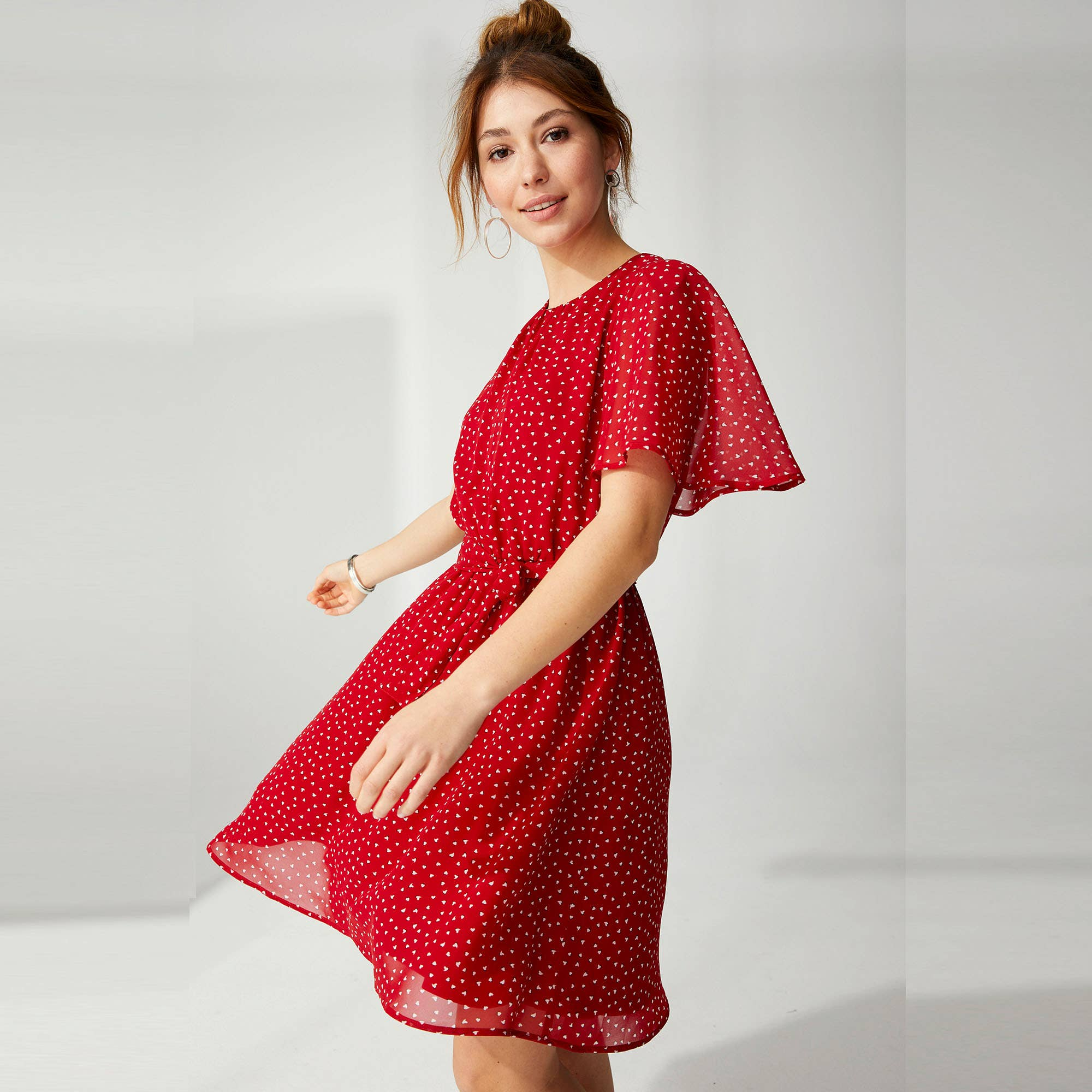 Damen Chiffon Kleid mit Herzmuster