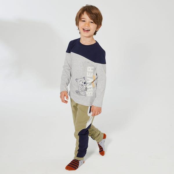 Jungen-Jogginghose mit Kontrast-Einsätzen