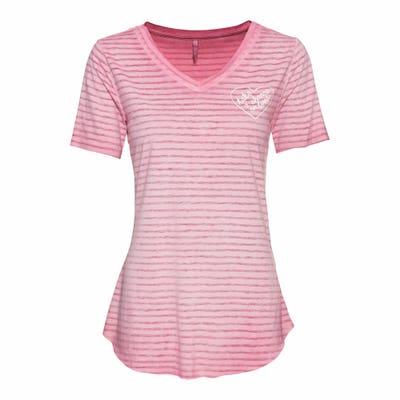 Damen-T-Shirt mit Ausbrenner-Streifenmuster